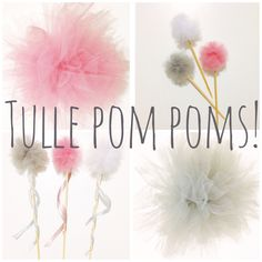 Tulle Pom Poms, Tulle Cake Toppers and Tulle Fairy Wands. Handmade with love - perfect for a Ballerina, Princess or Fairy themed party. These gorgeous party supplies and much more from www.myvintagesuitcase.com.au Unique and Boutique Party Supplies - Home delivered within Australia.