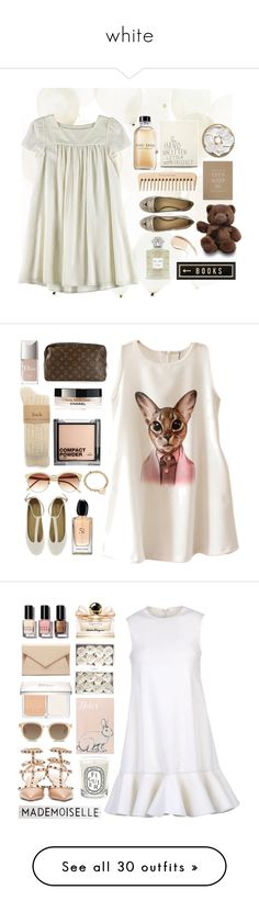 """""""white"""" by agus-leguizamon ❤ liked on Polyvore featuring Creed, The Body Shop, Bobbi Brown Cosmetics, SS Print Shop, Charlotte Olympia, Spicher and Company, Burberry, H&M, Christian Dior and Chicnova Fashion"""