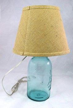 BALL MASON JAR 1/2 Gallon Blue Aqua Lamp Light Lid Burlap Rustic Cabin Country