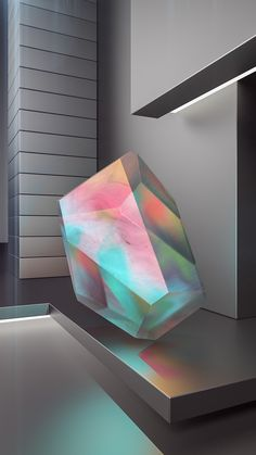 The beauty of iridescent minerals and modern architecture finding each other in a non-narrative series.Through this phenomenon, minimalism witnesses the journey of light.Moving still portrait for Electric Objects. Abstract Sculpture, Sculpture Art, Modern Art, Contemporary Art, 3d Prints, Light Art, Sacred Geometry, Geometry Art, Triangles