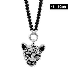 Damenkette mit Leopard Anhänger aus Strass » noch mehr Bikerschmuck im Online-Shop » bereits ab 20.- EUR versandkostenfreie Lieferung » Jetzt online kaufen Dog Tags, Dog Tag Necklace, Piercing, Kawaii, Jewelry, Fashion, Craft Jewelry, Glass Beads, Fashion Jewelry