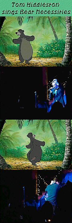 Tom Hiddleston´s Voice. Tom Hiddleston sings Bear Necessities at the Friendship Works charity gala in November 2013. Video: https://www.youtube.com/watch?feature=player_detailpage&v=JNvxb_VkGCc