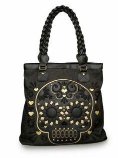 """""""Sugar Skull"""" Handbag by Loungefly (Black/Gold)"""