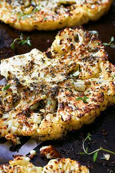 Few ingredients, big payoff! These cauliflower steaks are brushed with a mixture of olive oil and Italian herbs, then roasted in the oven to crisp-tender perfection.
