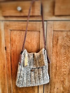 Upcycled Handmade Wool Leather Shoulder Bag via Etsy