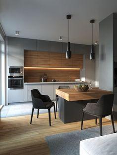 27 Modern Kitchen Interior Design That You Have to Try Kitchen Room Design, Kitchen Cabinet Design, Kitchen Sets, Modern Kitchen Design, Home Decor Kitchen, Kitchen Living, Interior Design Kitchen, Home Kitchens, Condo Interior
