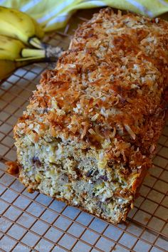 This Hummingbird Banana Bread is the BEST! Super moist and tender banana bread flavored like a hummingbird cake with pineapple, pecans and toasted coconut. So unique, delicious, easy and amazing! Coconut Banana Bread, Toasted Coconut, Banana Nut Bread Moist, Coconut Bread Recipe, Banana Bread Muffins, Banana Bread Recipes, Moist Bread Pudding Recipe, Unique Banana Bread Recipe, Easy Banana Desserts