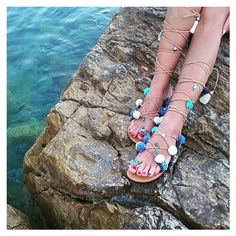 RiRiPoM, Τie Up Gladiator Leather Sandals, Greek Sandals,Semi Precious... (€139) ❤ liked on Polyvore featuring shoes, sandals, navy sandals, navy blue leather sandals, tassel sandals, leather sandals and greek sandals