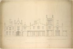 Belmead, Plantation Mansion for Philip St. George Cocke, Powhatan Co., Virginia (partial elevations of entrance facade, greenhouse facade and James River facade, shown as continuous)
