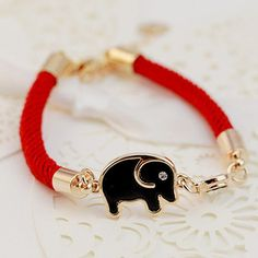 Cute Little Elephant Pendant Red Charm Bracelet For Women, AS THE PICTURE in Bracelets   DressLily.com
