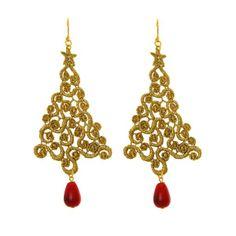 Gold Xmas Tree lace earrings | Tita' Bijoux