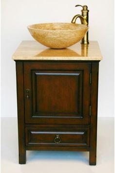 "22"" Bathroom Furniture Travertine Top Single Sink Vanity Cabinet 158T HF Gallery http://www.amazon.com/dp/B001CBDOEU/ref=cm_sw_r_pi_dp_aAiKub18778GM"