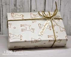 Storybook gift wrap.  Avery Elle Storybook stamp set.  Brown chalk ink.