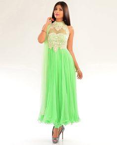 Neon Green Kalidar Suit with Pearl Embellished Yoke