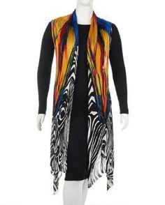 Women's Plus Size Zebra Print Knit Vest