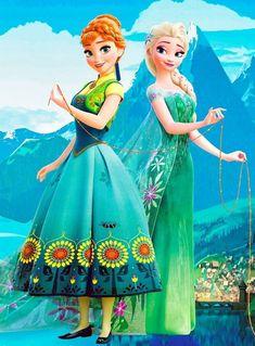 Anna and Elsa from Frozen 〖 Disney Frozen Anna Elsa spring outfit green dress 〗 Frozen Disney, Walt Disney, Princesa Disney Frozen, Frozen Movie, Frozen Elsa And Anna, Disney Magic, Disney Art, Elsa Frozen Fever, Frozen Cartoon