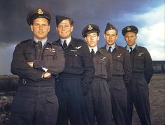Wing Commander Guy Gibson VC with his crew that formed part of 617(Dambuster) Sqn. in July 1943. Apart from Gibson they are ;Bomb aimer, Pil...