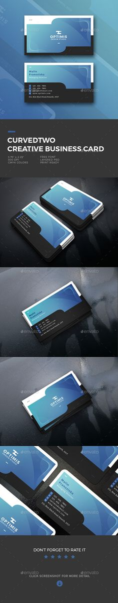 Curvedtwo Creative Business Card - #Business #Cards Print Templates Download here:  https://graphicriver.net/item/curvedtwo-creative-business-card/20474487?ref=alena994