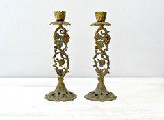 Vintage Bronze Candle Sticks Ornate TAMAR candle by MeshuMaSH