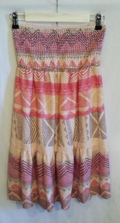 American Eagle Pink Multi-Colored Strapless Dress~ Size Small #AmericanEagleOutfitters #Sundress #SummerBeach