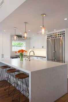 Silestone Lagoon for a Contemporary Kitchen with a Pendant Fixture and Balboa Coves Remodel by Eric Aust Architect White Cabinets White Countertops, Kitchen Countertops, Silestone Lagoon, Contemporary Open Plan Kitchens, Diy Design, Design Ideas, Home Ceiling, Ceiling Beams, Wine Storage