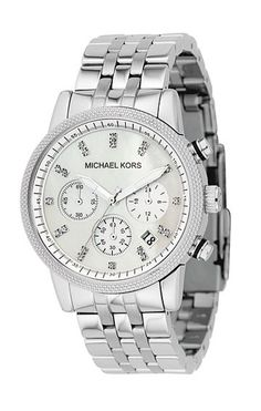 Michael Kors watch. I'd like one in silver and rosegold :)