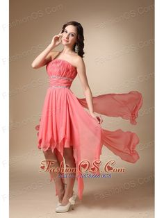 Watermelon Red A-line Strapless Asymmetrical Chiffon Beading Prom / Homecoming Dress- $117.29  http://www.fashionos.com  custom made prom dresses | fitted and sexy dress | perfect evening dress | flowing dancing dress | fabulous and stunning dress | prom dress for wholesale | flowy prom dresses | prom dress sale | prom dress outlet | cheap sexy cocktail party gown