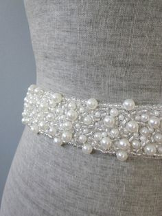 Pearl & Silver glass beads Beaded bridal wedding sash / belt on Etsy, $83.28 AUD