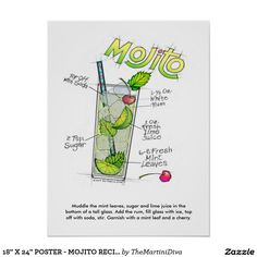 An illustration of a classic MOJITO COCKTAIL RECIPE (with ingredients & ratios) on Art Prints, Clothing, Stationery as well as Tools and Decor for Bar, Home, Office & Gifts. Custom Invitations, Party Invitations, Cuban Mojito, Mojito Cocktail, Mojito Recipe, Colorful Drawings, Office Gifts, Custom Posters, Custom Framing