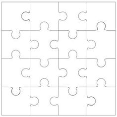 16 piece Jigsaw Template. Could be used for our Integer Puzzle.