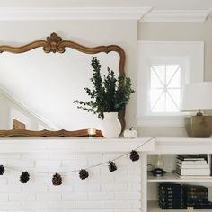Clean house, fresh greenery from the backyard to spruce up the mantle, pine scented candles, littlest about to go down for a nap and dinner… My Living Room, Home And Living, Living Spaces, Sweet Home, Home Modern, Interior And Exterior, Interior Design, Decoration Inspiration, Room Inspiration