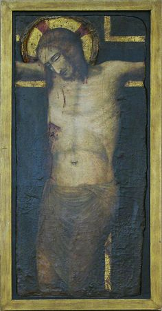 Fragment of The Crucified Christ, tempera and gold on wood, ca 1000-1400, Italian. MET