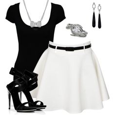 This is my favorite outfit. The shirt is short sleeve and black. The outfit has a bow necklace, a diamond ring, and a pair of long, black earrings. The outfit also has a pair of black high heels. Lila Outfits, Classy Outfits, Outfits For Teens, Spring Outfits, Casual Outfits, Dinner Outfits, Club Outfits, Night Outfits, Only Fashion
