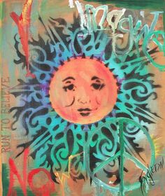 Imagine Peace and Love Singleton Hippie Art by justgivemepeace, $135.00