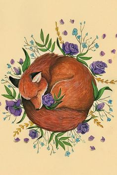 Floral Fox, fox illustration with x 22 Art Print Illustration Drawing Poster Wall Décor Wall Hanging Art And Illustration, Fuchs Illustration, Art Illustrations, Fox Drawing, Plant Drawing, Drawing Flowers, Wall Drawing, Art Floral, Floral Flowers
