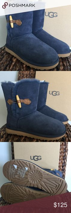 """UGG Keely Navy Boots Model: 1012362 A wood toggle pops against plush Twinface and puts a fresh spin on our classic silhouette. Finished with a natural wool insole and our exclusive Treadlite by UGG™ sole, the Keely cushions feet and grips exceptionally well on both wet and dry surfaces.  Twinface, suede, and leather Wood toggle closure UGGpure™ wool insole Treadlite by UGG™ outsole Approx. 7 ½"""" shaft height UGG Shoes Winter & Rain Boots"""