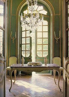 French blues and greens in the entrance hall. OMG, notice the curved Rococo doors!!!  from Picture of Elegance blog