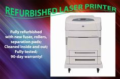 HP Color LaserJet 5500DTN refurbished color laser printer C9658A 5500 90-day warranty. Professionally refurbished laser printer with 90-day warranty! Changed all new rollers, fuser, maintenance kit and all other consumables parts. No toner or drum included, unless indicated otherwise. Existing and new remanufactured toner cartridges are available with extra charge. Shipping included to all customers in lower 48 states. Due to the size and weight, we don't ship to HI, AL, and PR, no PO Box...