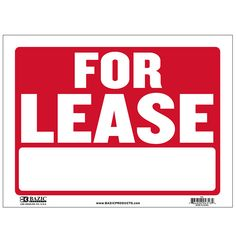 """States """"For Lease"""" in white and has a red backing Durable plastic, weatherproof Bright and highly visible 9 inch x 12 inch exit sign Yard Sale Signs, For Sale Sign, No Trespassing Signs, Retail Signs, Exit Sign, Open Signs, Plastic Signs, Dog Signs, Business Signs"""