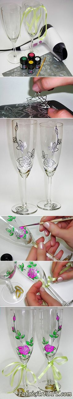 This is a perfect idea for wedding, i bet you will love it. Materials: Ribbon Sticker Scissors glue and drier Beads, if necessary Glossy glass paint&brush Effect: Instructions: