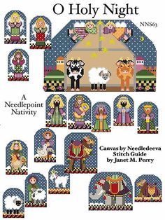 Small nativity set needlepoint stitch guide. Canvases by Needledeeva. Stitch Guide available from Napa Needlepoint.    See some of the pieces stitched in the album, My Needlepoint. Image & guide copyright Napa Needlepoint.