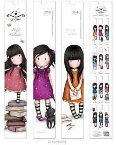 The Gorjuss 2014 Calendar features sweet stripey-socked girls in a series of cute images. Each monthly image captures a moment and draws you into the Gorjuss timeless world. Santoro London, Diy Bookmarks, Art Calendar, Book Markers, Ideias Diy, Digi Stamps, Happy Planner, Planner Stickers, Paper Dolls