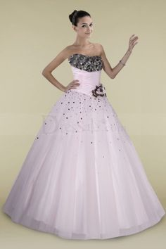 Glamorous Pink Crystals Adorned Bust Ball Gown with Floral for Quinceanera Party