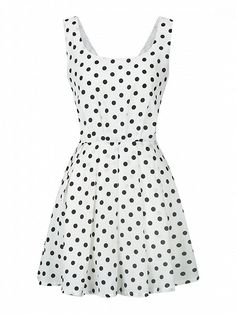 White Polka Dot Bow Back Vest Skater Dress