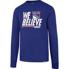 '47 Men's 2017 NHL Stanley Cup Playoffs New York Rangers Royal Long Sleeve T-Shirt, Size: Large, Team