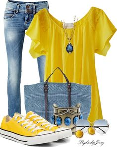 """""""Denim n' Yellow"""" by stylesbyjoey on Polyvore"""