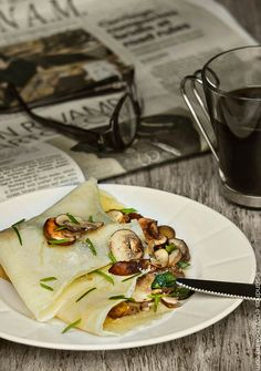 Savory Crepes with Sauteed Mushrooms and Scallions @SECooking | Sandra #recipe