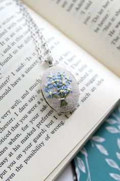 Forget Me Not Necklace. Hand Embroidered Jewelry. by AMEhandmade