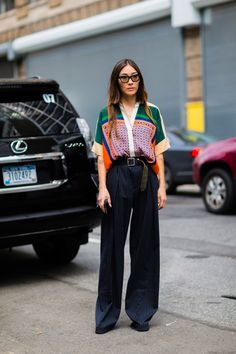 Love the blouse and the mix of prints between the pants and the top! Especially the wide-leg pants with the long belt
