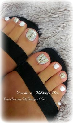 DIY Wedding Toenail Art Design. #mydesigns4you #pedicure #bridalnails #weddingnails #wedding #winter